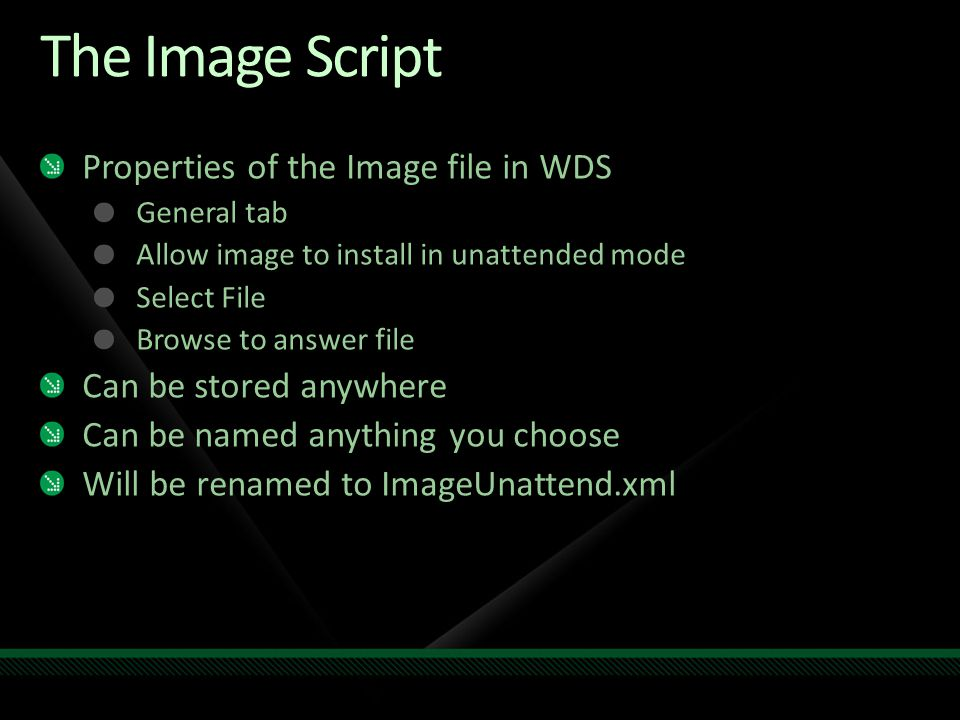 The Image Script Properties of the Image file in WDS