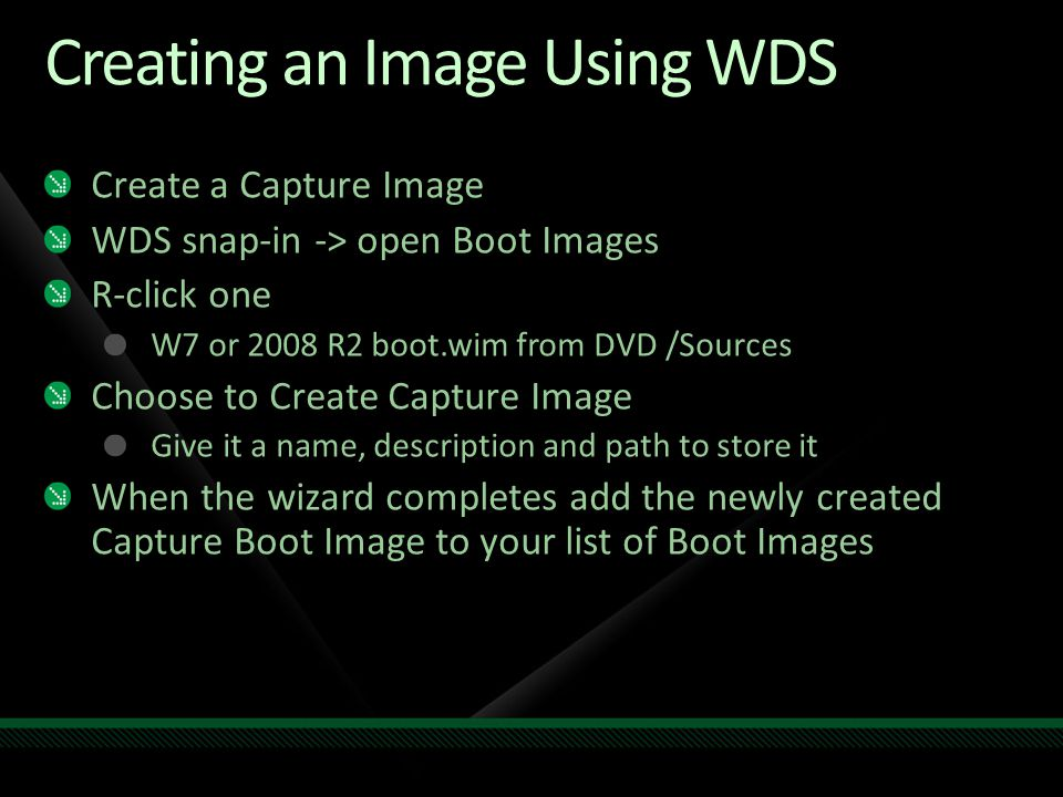 Creating an Image Using WDS