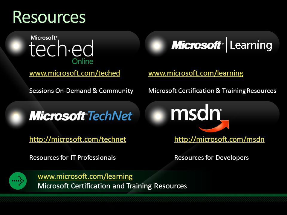 Resources www.microsoft.com/teched www.microsoft.com/learning