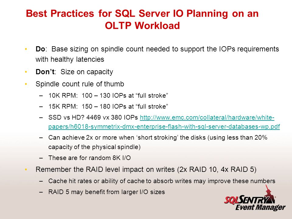 Within SQL Server: Within hardware: Strategies for Enhancing IO