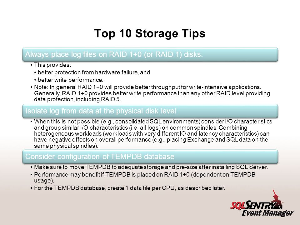 Top 10 Storage Tips Lining up the number of data files with CPU's has scalability advantages for allocation intensive workloads.