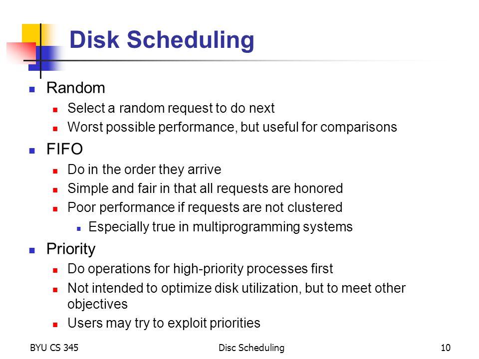 Disk Scheduling Random FIFO Priority