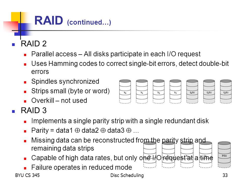 RAID (continued…) RAID 2 RAID 3