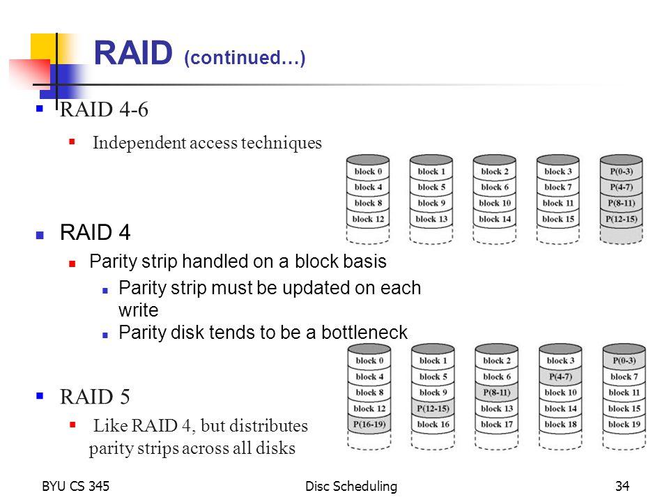 RAID (continued…) RAID 4-6 RAID 4 RAID 5 Independent access techniques