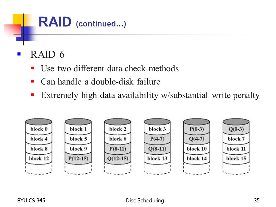 RAID (continued…) RAID 6 Use two different data check methods