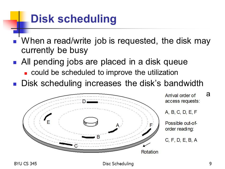 Disk scheduling When a read/write job is requested, the disk may currently be busy. All pending jobs are placed in a disk queue.