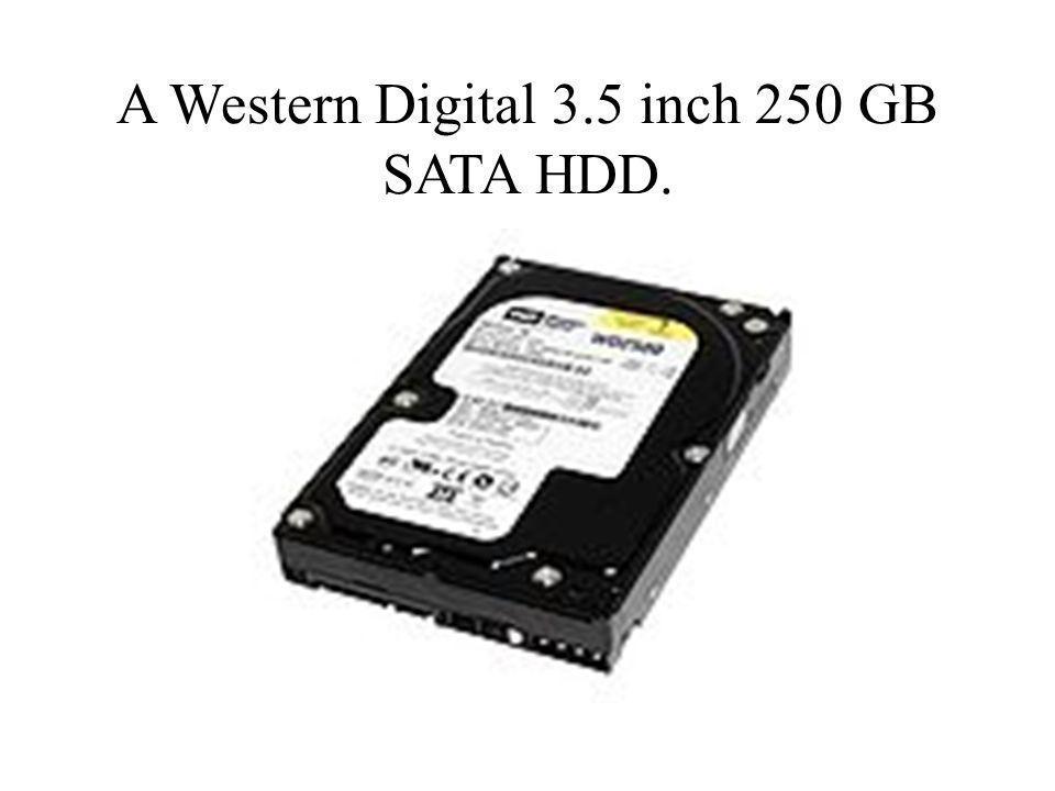 A Western Digital 3.5 inch 250 GB SATA HDD.
