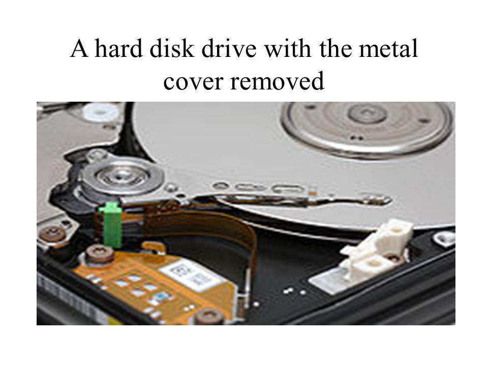 A hard disk drive with the metal cover removed