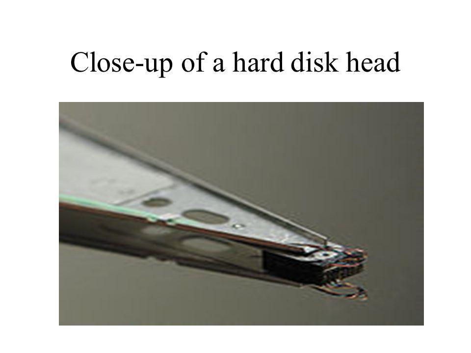 Close-up of a hard disk head