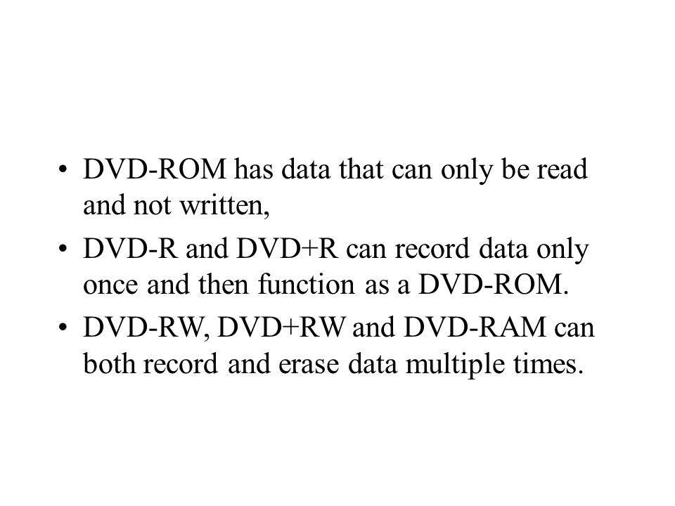 DVD-ROM has data that can only be read and not written,