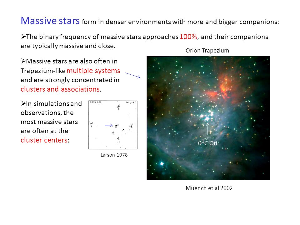 Massive stars form in denser environments with more and bigger companions: