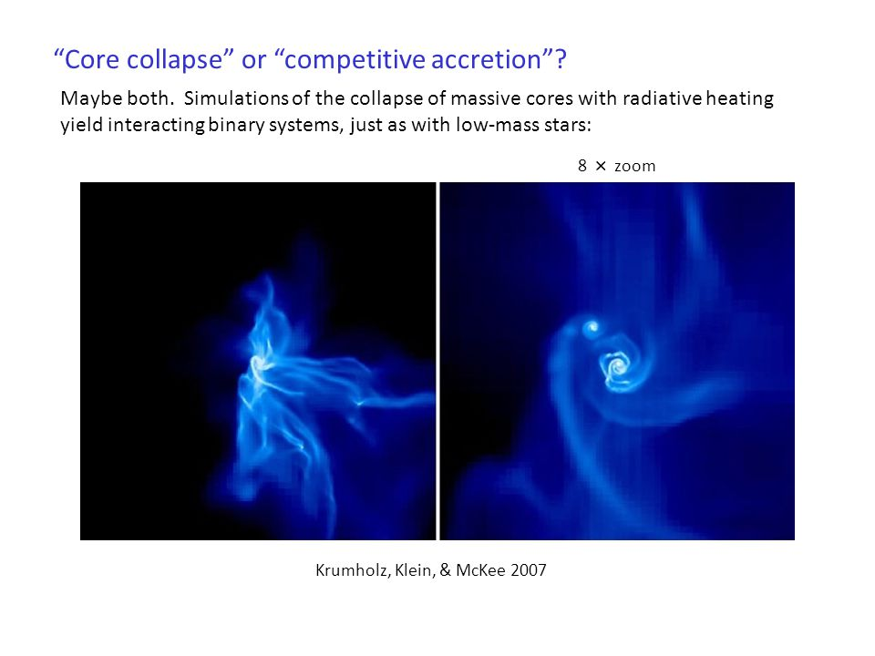 Core collapse or competitive accretion