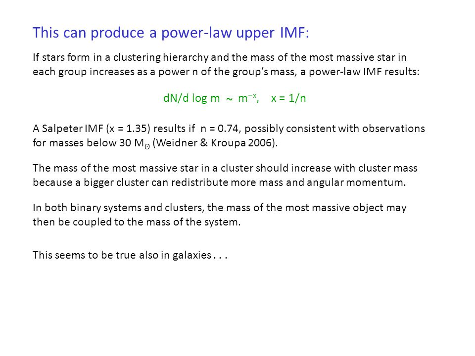 This can produce a power-law upper IMF:
