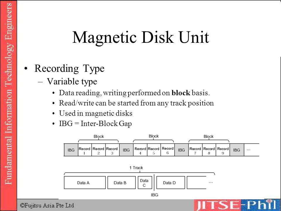 Magnetic Disk Unit Recording Type Variable type