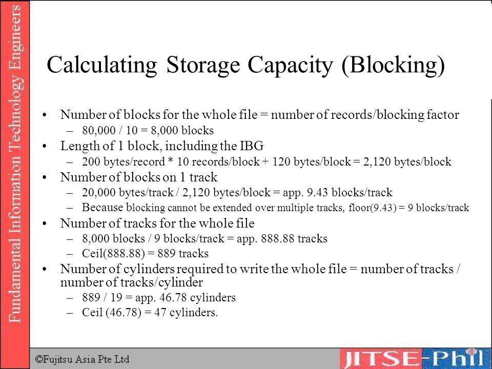 Calculating Storage Capacity (Blocking)