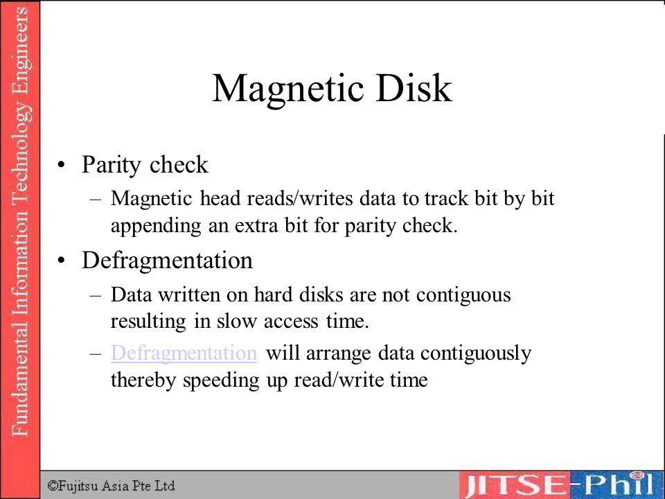 Magnetic Disk Parity check Defragmentation