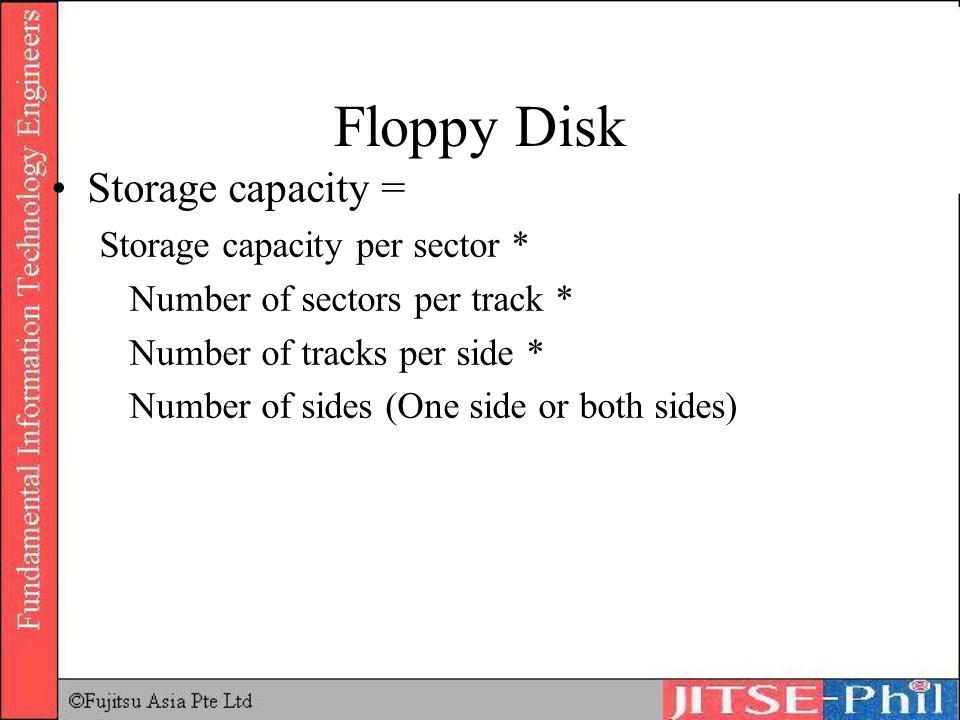 Floppy Disk Storage capacity = Storage capacity per sector *