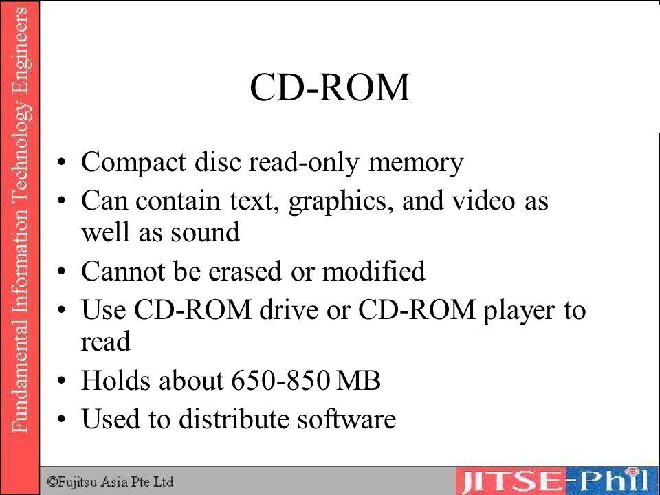 CD-ROM Compact disc read-only memory