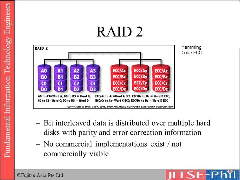 RAID 2 Hamming Code ECC. Bit interleaved data is distributed over multiple hard disks with parity and error correction information.