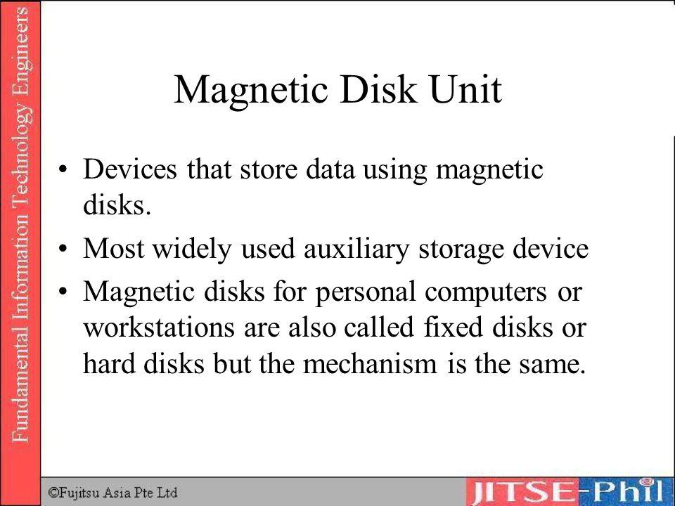 Magnetic Disk Unit Devices that store data using magnetic disks.