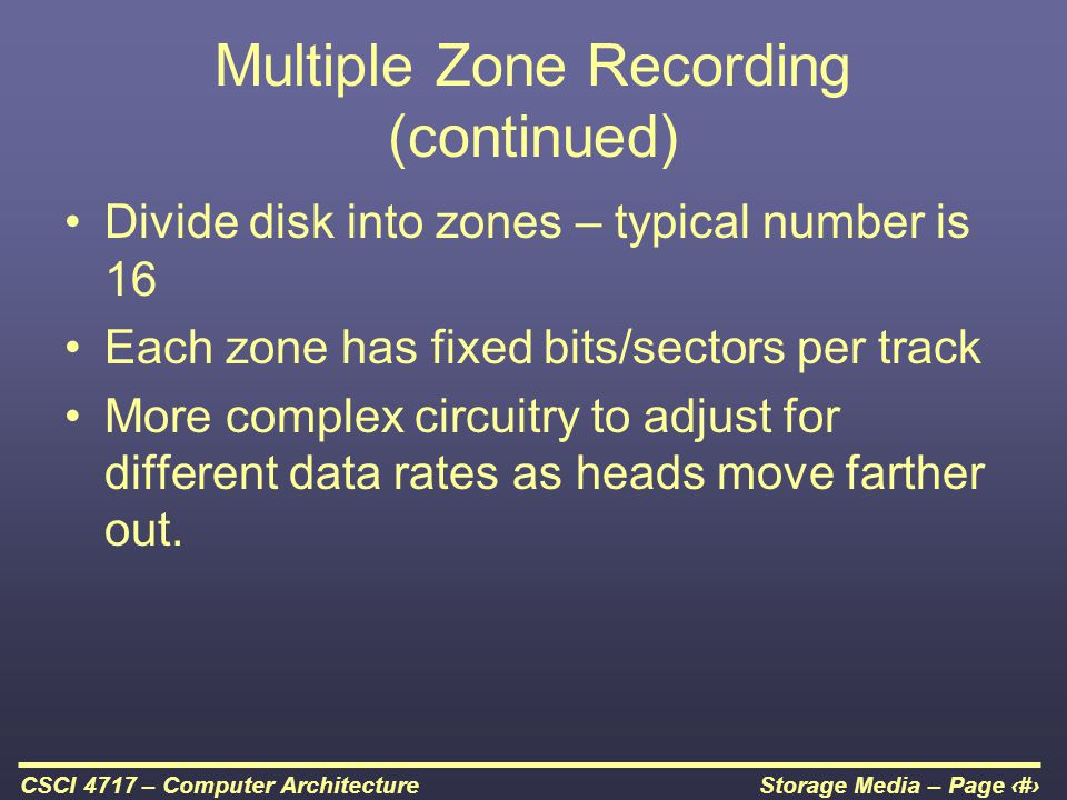 Multiple Zone Recording (continued)