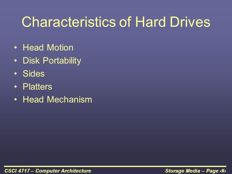 Characteristics of Hard Drives
