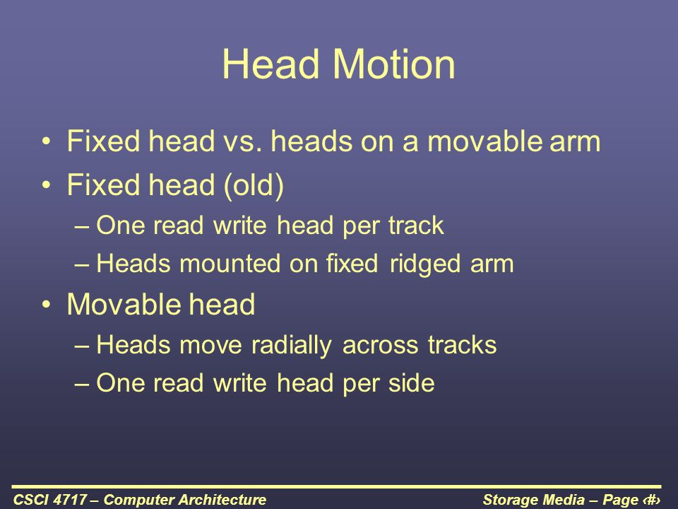 Head Motion Fixed head vs. heads on a movable arm Fixed head (old)