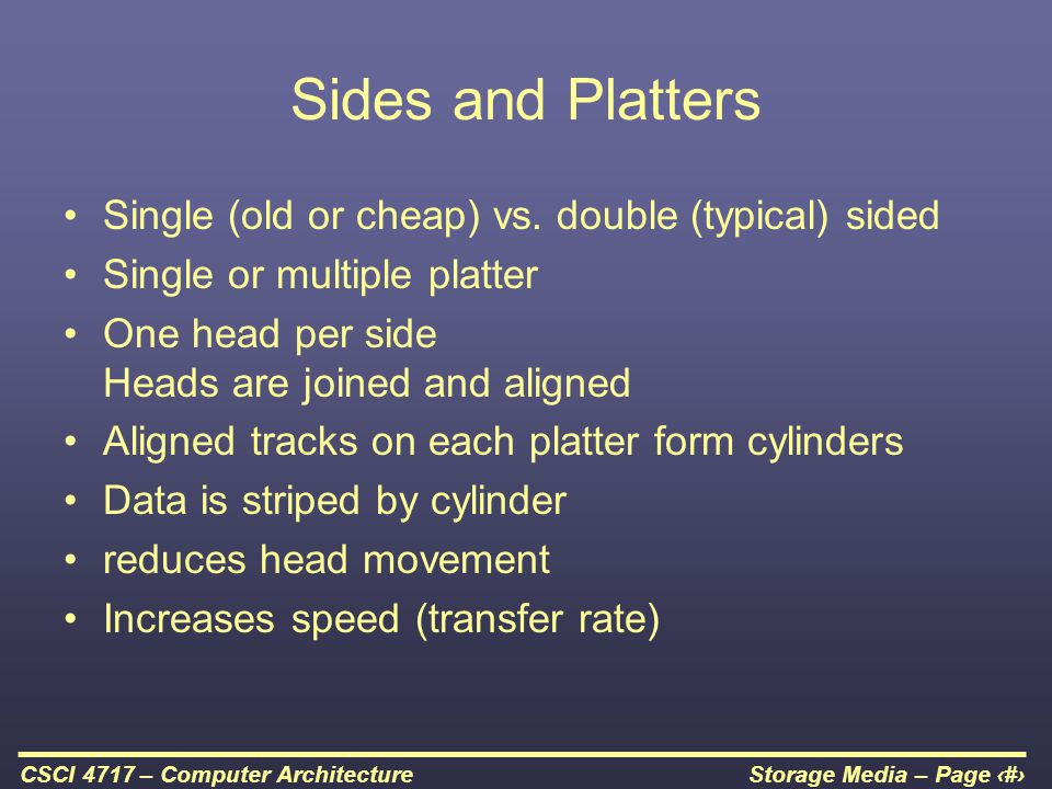 Sides and Platters Single (old or cheap) vs. double (typical) sided