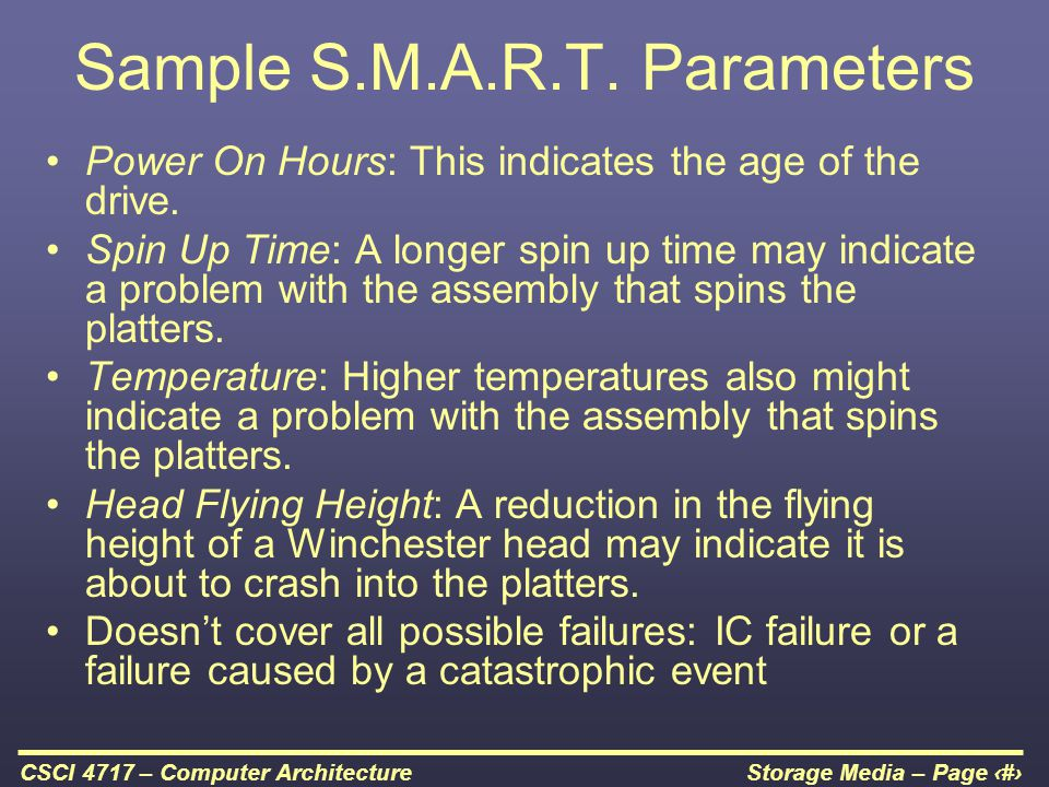 Sample S.M.A.R.T. Parameters