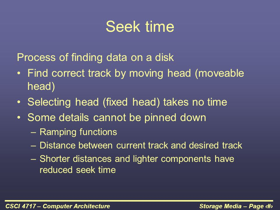 Seek time Process of finding data on a disk