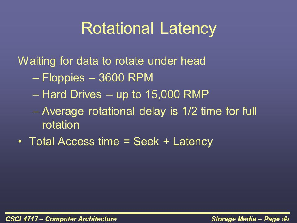 Rotational Latency Waiting for data to rotate under head