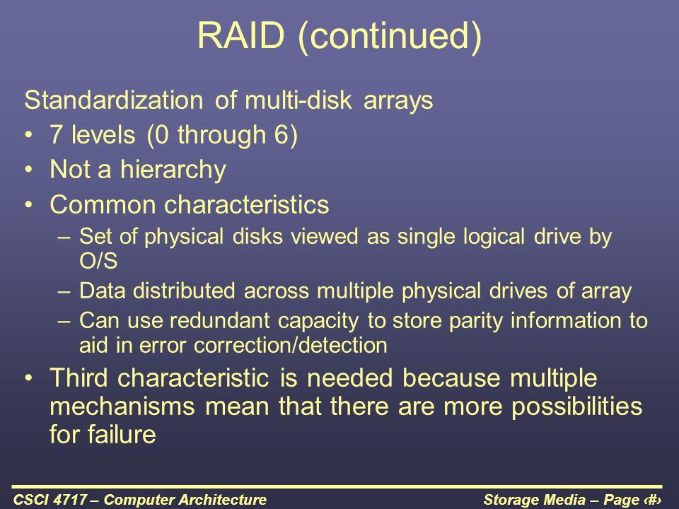RAID (continued) Standardization of multi-disk arrays