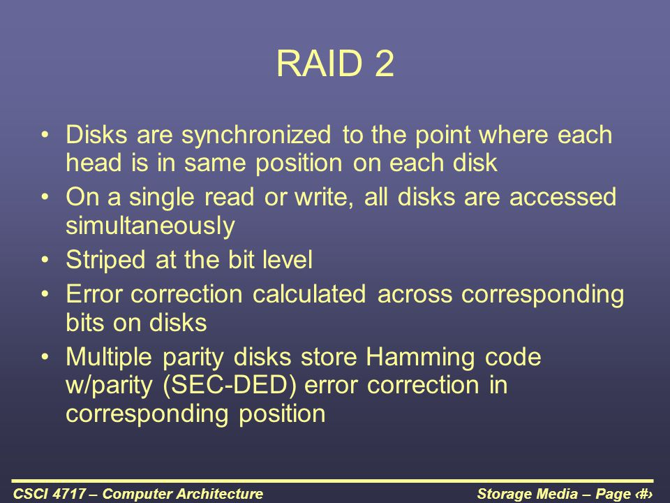 RAID 2 Disks are synchronized to the point where each head is in same position on each disk.