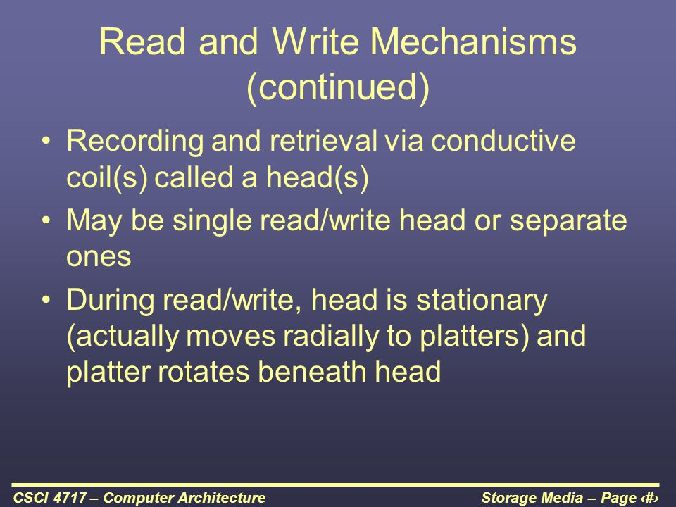 Read and Write Mechanisms (continued)