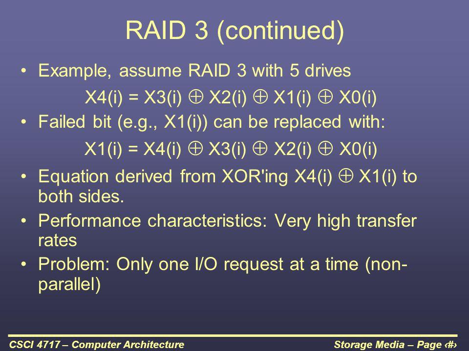 RAID 3 (continued) Example, assume RAID 3 with 5 drives