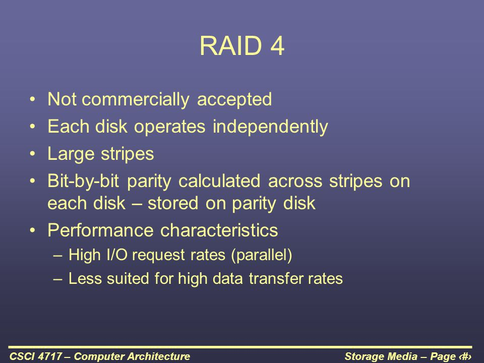 RAID 4 Not commercially accepted Each disk operates independently