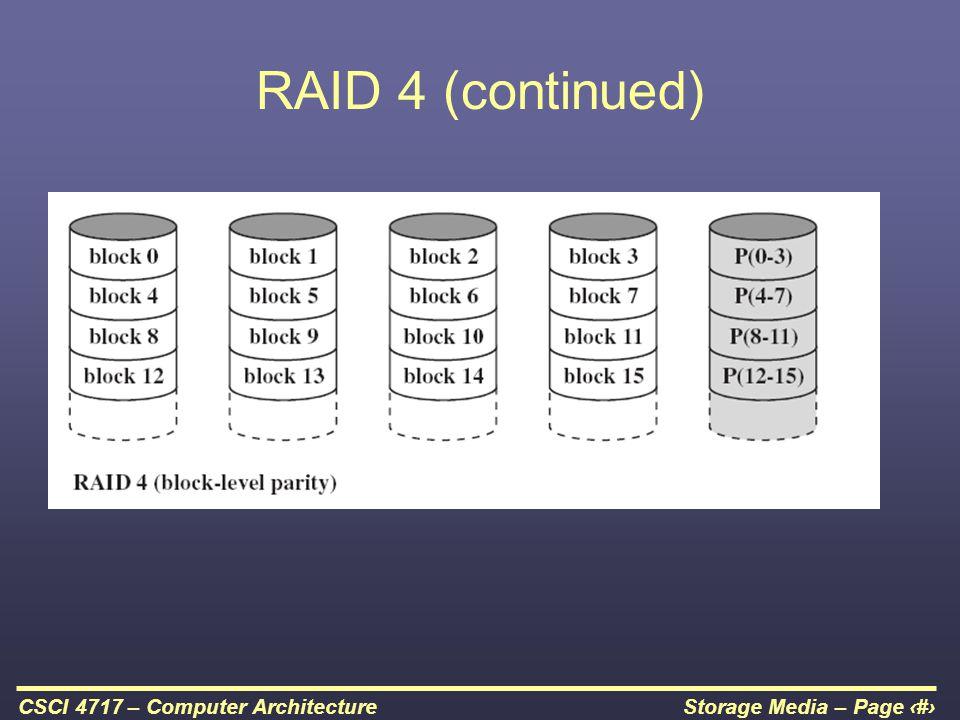 RAID 4 (continued)