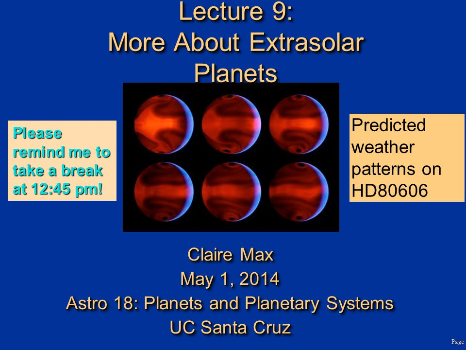 Lecture 9: More About Extrasolar Planets