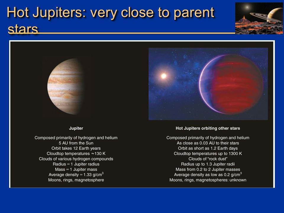 Hot Jupiters: very close to parent stars