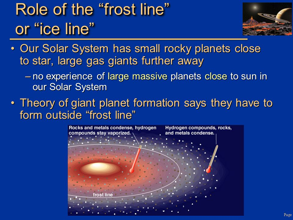 Role of the frost line or ice line