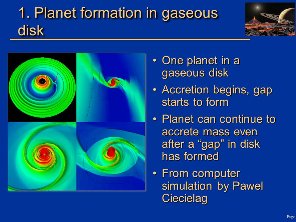 1. Planet formation in gaseous disk