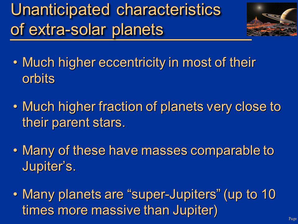 Unanticipated characteristics of extra-solar planets