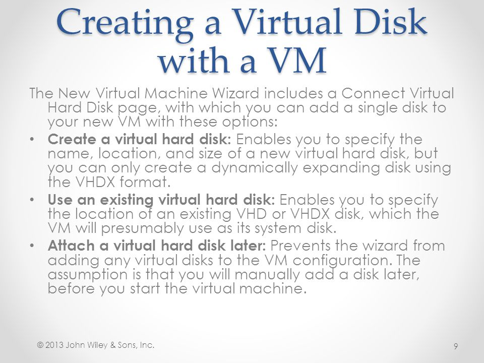 Creating a Virtual Disk with a VM
