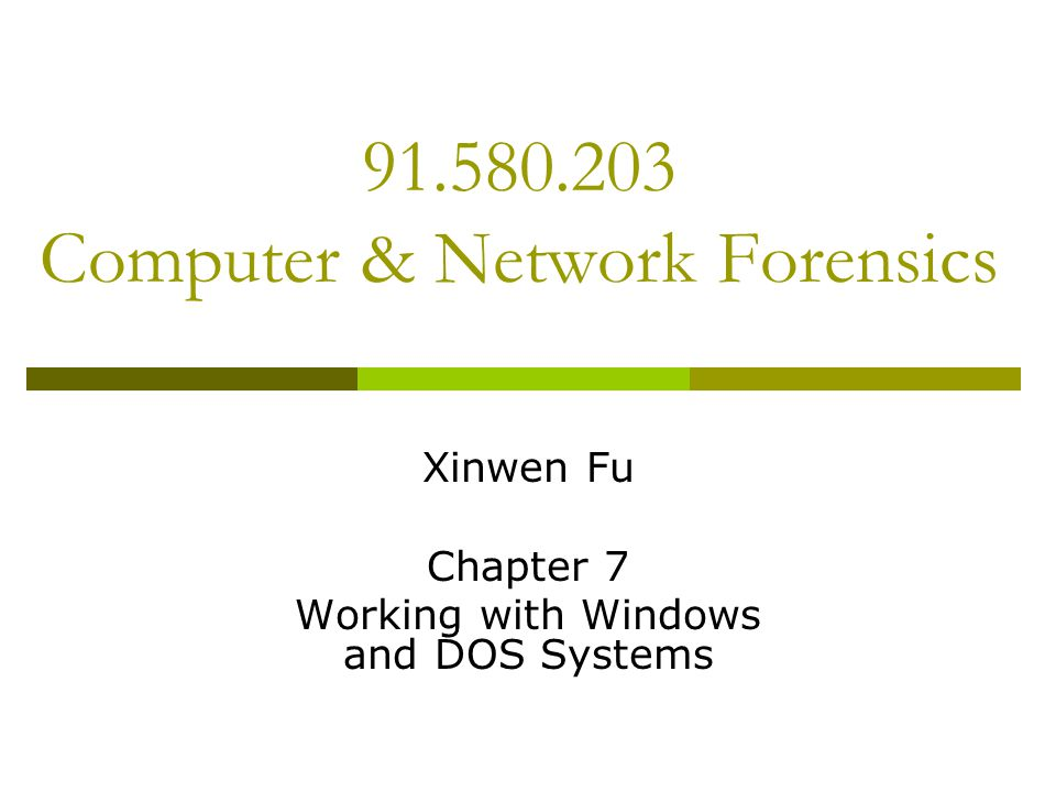 91.580.203 Computer & Network Forensics