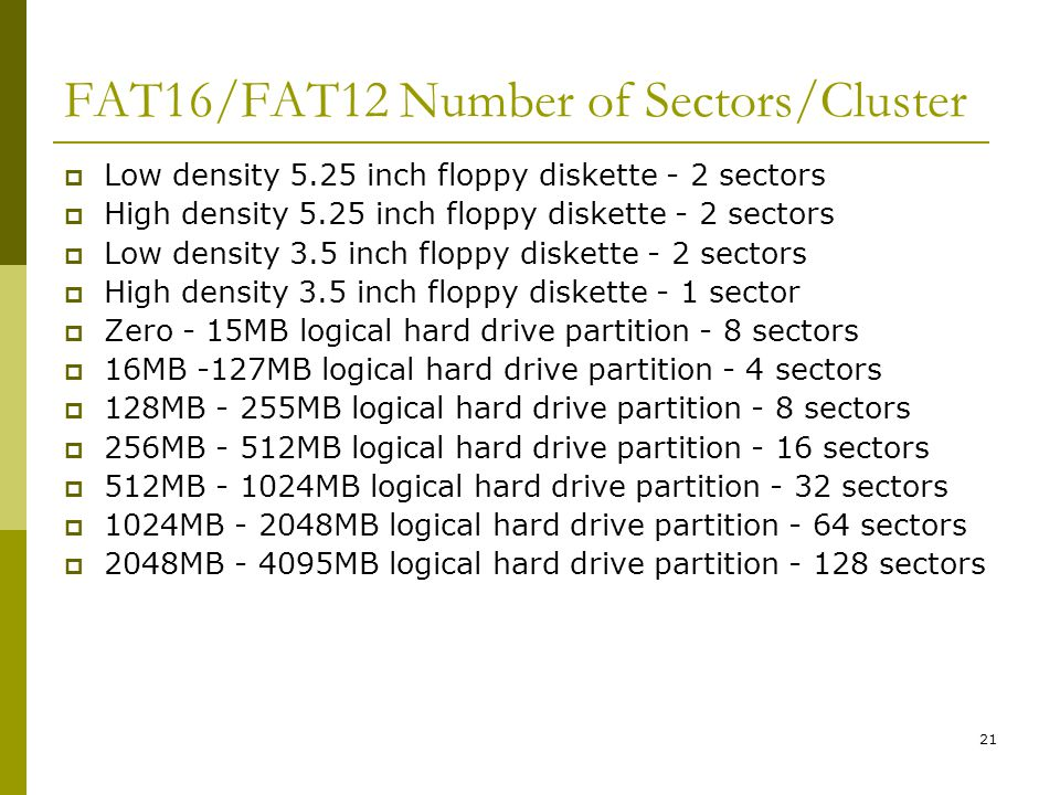 FAT16/FAT12 Number of Sectors/Cluster
