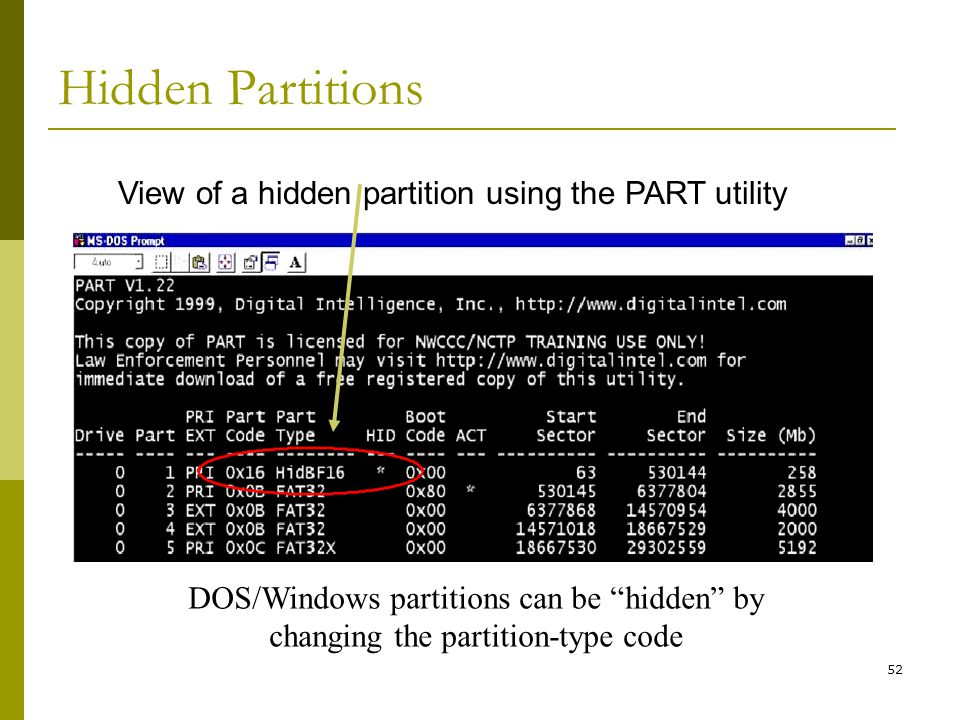 View of a hidden partition using the PART utility