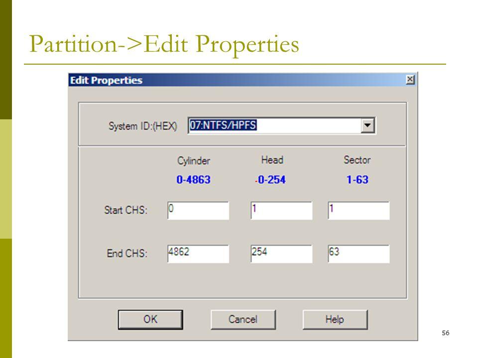 Partition->Edit Properties