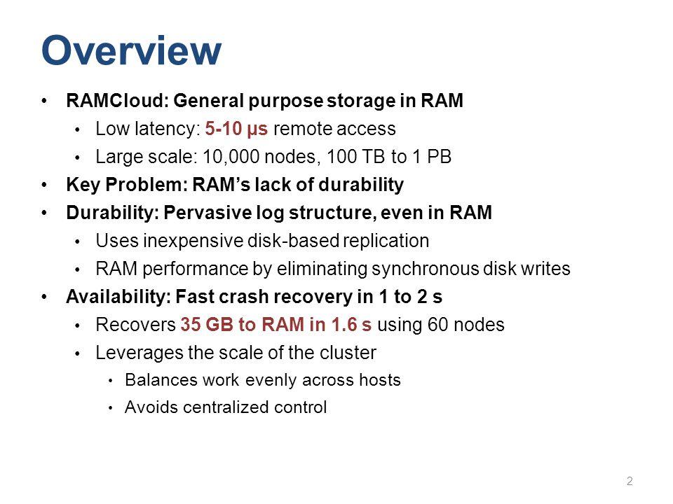 Overview RAMCloud: General purpose storage in RAM