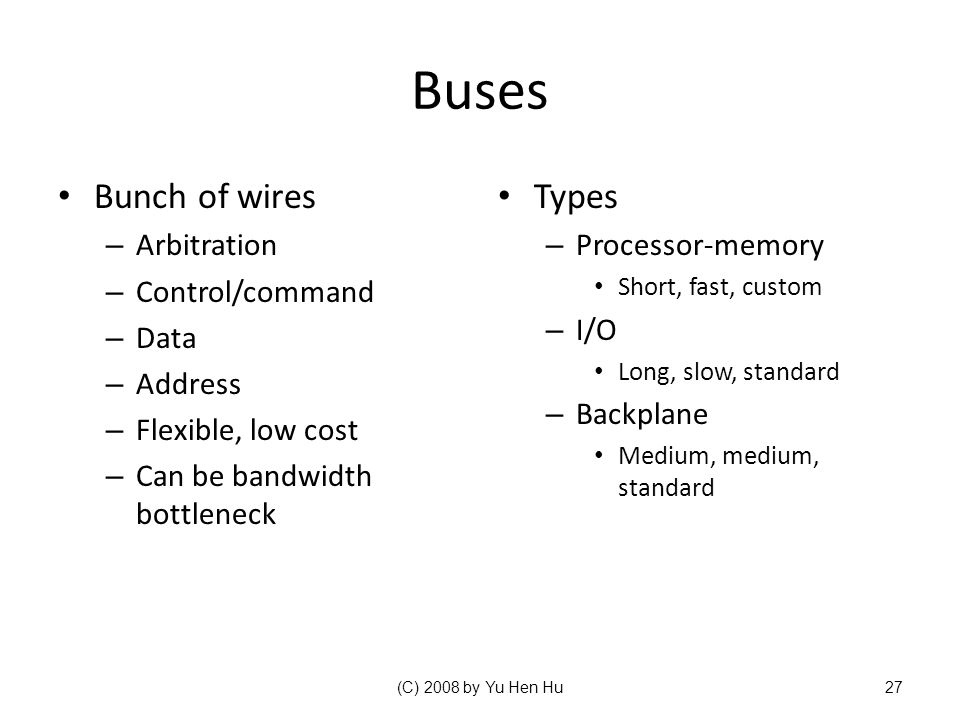 Buses Bunch of wires Types Arbitration Control/command Data Address