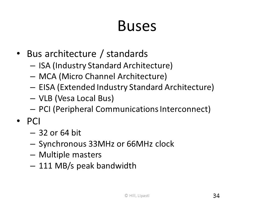 Buses Bus architecture / standards PCI